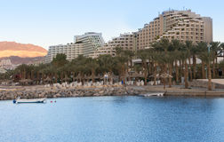 Hotel resort area of the Eilat at sunrise Stock Photos