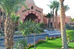 Hotel in the resort area of Makadi Bay Hurghada. Makadi Bay, Egypt - 17th May, 2018: Hotel facade in Egypt in the resort area of Hurghada, Makadi Bay stock photos