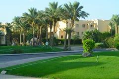 Hotel in the resort area of Makadi Bay Hurghada. Makadi Bay, Egypt - 17th May, 2018: Hotel facade in Egypt in the resort area of Hurghada, Makadi Bay. Service stock image