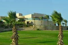 Hotel in the resort area of Makadi Bay Hurghada. Makadi Bay, Egypt - 17th May, 2018: Facade of Steigenberger Makady hotel in Egypt in the resort area of Hurghada royalty free stock photography