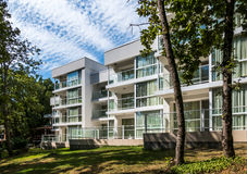 Hotel resort building with beautiful windows in nature Royalty Free Stock Photography