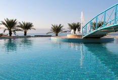 Hotel resort pool detail, Dead Sea. Jordan Stock Photo