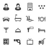 Hotel and resort service icons. Mono vector symbols Stock Photos