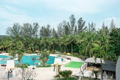 Hotel resort and swimming pool area in waterfront Batam, Indonesia, May 4, 2019. Hotel resort and swimming pool area in waterfront Batam, Indonesia, May 4 2019 royalty free stock photos