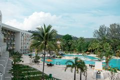 Hotel resort and swimming pool area in waterfront Batam, Indonesia, May 4, 2019. Hotel resort and swimming pool area in waterfront Batam, Indonesia, May 4 2019 stock photos