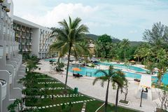 Hotel resort and swimming pool area in waterfront Batam, Indonesia, May 4, 2019. Hotel resort and swimming pool area in waterfront Batam, Indonesia, May 4 2019 royalty free stock photography