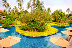 Hotel resort with swimming pool (Bali, Indonesia) royalty free stock images