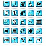 Hotel Resort Symbols Icons Blue. Set of 25 Icons Symbols for Hotels & Resorts Stock Photography