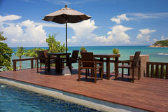 Hotel resort in Thailand. Bar and swimmin-pool on the beach in Koh Samui, Thailand Stock Images