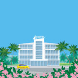 Hotel in the resort town. The image of beautiful big hotel in a seaside resort in an environment of tropical plants. Vector background Royalty Free Stock Image
