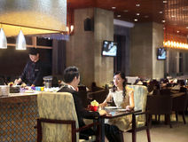 The hotel restaurant. The Chinese characteristic restaurant,box,The restaurant service,Chinese style chair,Round table,The sofa Royalty Free Stock Images
