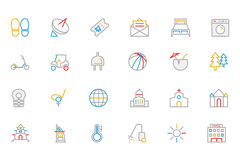 Hotel and Restaurant Colored Outline Vector Icons 6 Royalty Free Stock Photo