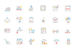 Hotel and Restaurant Colored Outline Vector Icons 2. These Hotel colored line icons are perfect for any designer or developer that is working on a new restaurant Stock Photos