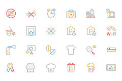 Hotel and Restaurant Colored Outline Vector Icons 9 Royalty Free Stock Image