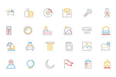 Hotel and Restaurant Colored Outline Vector Icons 10 Stock Photos