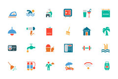 Hotel and Restaurant Colored Vector Icons 2 Stock Image