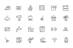 Hotel and Restaurant Doodle Icons 2. Attention please! get ready for holidays, stay in hotels and enjoy your meal at restaurant. Here is Hotel and Restaurant Royalty Free Stock Images