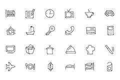 Hotel and Restaurant Doodle Icons 1 Royalty Free Stock Photography