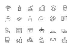 Hotel and Restaurant Doodle Icons 8 Royalty Free Stock Images