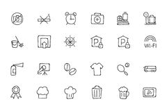 Hotel and Restaurant Doodle Icons 9 Royalty Free Stock Photography