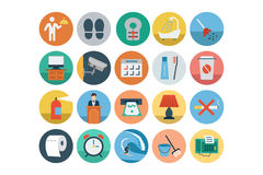 Hotel and Restaurant Flat Colored Icons 5 Stock Photography