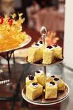Hotel restaurant food catering service buffet banquet for wedding ceremonies, seminars, meetings, conferences, parties or events. Fresh bakery cake pastry in stock photos