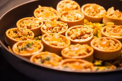 Hotel restaurant food catering service buffet or cocktail banquet for wedding receptions, seminars, meetings, conferences, parties. Or events. Freshly baked stock images