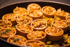 Hotel restaurant food catering service buffet or cocktail banquet for wedding receptions, seminars, meetings, conferences, parties. Or events. Freshly baked stock image