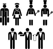 Hotel and restaurant pictograms. Several pictograms of hotel and restaurant workers Stock Photography