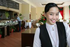 Hotel restaurant staff. Pose at work stock photo