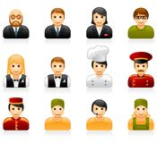 Hotel and restaurant staff icons. Hotel and restaurant staff glossy icon set Stock Images