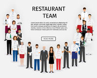 Hotel restaurant team. Group of catering service characters standing in uniform. Food service staff website banner. Royalty Free Stock Images