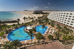 Hotel Riu Palace Tres Islas in Fuerteventure, Spain, editorial. FUERTEVENTURA - SEPTEMBER 20: The Hotel Riu Palace Tres Islas at Corralejo Beach in Fuerteventura Royalty Free Stock Photos