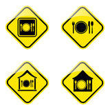 Hotel road sign. Illustration of dinner set icons on road sign Royalty Free Stock Photos