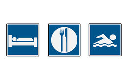 3 Hotel Road Signs. 3 blue road signs for hotel Royalty Free Stock Photo