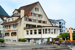 Hotel Roessli Beckenried. BECKENRIED, SWITZERLAND - JULY 4, 2014: Hotel Roessli. The hotel is located on the shores of Lake Lucern stock photos