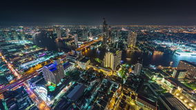 Hotel roof top night bangkok river panorama 4k time lapse thailand stock video footage