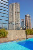 Hotel Rooftop Swimming Pool with Office Buildings Royalty Free Stock Photo