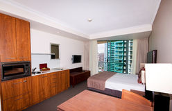 Hotel Room. A basic hotel room in a highrise building on the Gold Coast Stock Photo