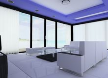 Hotel room. 3d render of the hotel living room faces the beach Royalty Free Stock Photos