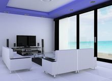 Hotel room. 3d render of the hotel room faces the beach Royalty Free Stock Images