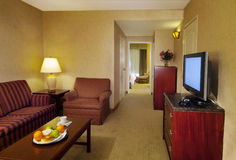 Hotel room. Interior of a hotel room. Wide angle shot to show as much of the room as possible Royalty Free Stock Photos