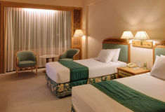Hotel room. With twin bed at jogjakarta indonesia asia Royalty Free Stock Photos
