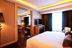 Hotel Room. A hotel suite if you wish, bedroom, kitchen and living room Royalty Free Stock Photo