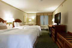 Hotel room. Interior of a twin beds hotel bedroom Stock Image