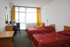 Hotel room. Simply decorated two bed hotel room Royalty Free Stock Photography