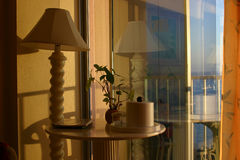 Hotel room. With glass reflection royalty free stock photo