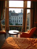 Hotel room. Sunny hotel room in Europe Royalty Free Stock Images