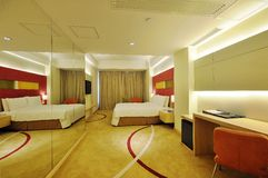 Hotel room. Modern style of the decoration of the hotel rooms Royalty Free Stock Photography