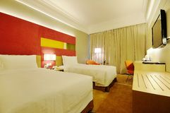 Hotel room. Modern style of the decoration of the hotel rooms Royalty Free Stock Image